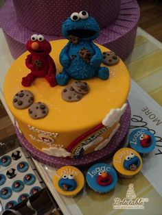 Elmo and cookie monster cake :)