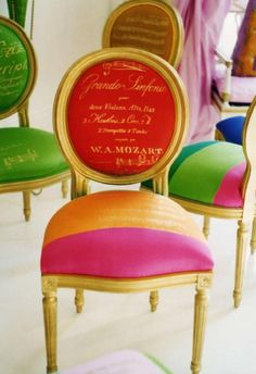 I adore the colour on these chairs! (via Nancy Liu Chin).....mmmmm script and colorful striping