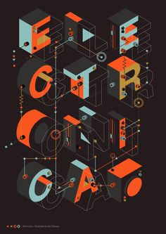 Electronica by Neil Stevens Motion Design, Typography Layout, Typography Poster, Typography Letters, Graphic Design Posters, Graphic Design Typography, Print Design, Type Design, Graphic Design Inspiration