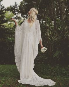 Gypsy Lace Beaded Train Bridal Kaftan Beach Wedding by Fairtale