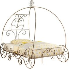 Furniture of America Yazmina Princess Carriage Champagne Bed, Multiple Sizes, Beige