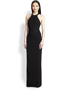 ABS Mesh-Inset Halter Gown