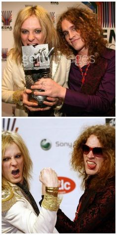 Finnish glam-rock band Negative's singer Jonne Aaron (L) and guitarist Larry Love (R) pose on the 2007 MTV Europe Music Awards in Munich, Germany, 01 November 2007. Photo: HUBERT BOESL Stock Photo. Style by Jaana Bragge.