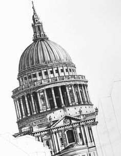 I Drew St Paul's Cathedral In London From Different Perspectives Architecture Sketchbook, Art Sketchbook, Watercolor Architecture, Architectural Prints, Architectural Sketches, Cathedral, Baroque, Illustration Art, Fine Art