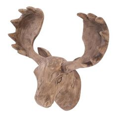 Triflora 50x29x58cm Wooden Moose Head, Brown