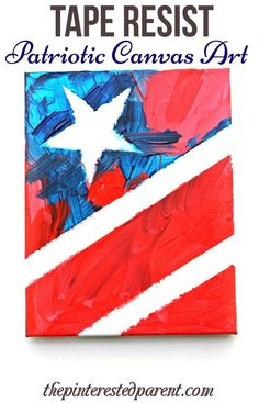 Patriotic art for the 4th of July! Tape resist painting of the stars and stripes for kids. A great activity for kids during a Fourth of July party!