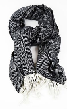 Dries Van Noten Black And White Scarf  this would be divine to reproduce in a lovely mohair/alpaca blend.