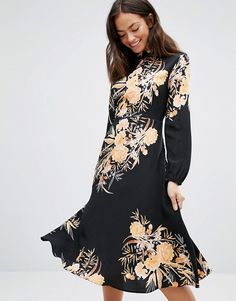 959eeb341a10 New Look High Neck Floral Bloom Midi Dress