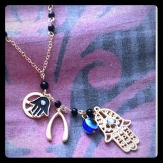"""Gypsy Hamsa Necklace   $7 when you bundle 50% off EVERYTHING when you bundle!! (Any 2+ items) Beautiful Multi-Element/Hamsa Necklace 24-26"""" chain -- Give some good luck to your loves! NEW ❌NO TRADES❌ Bundle and SAVE! 50% off ALL bundles! Thanks for looking! Thanks for looking! LeslieVegan Jewelry Necklaces"""