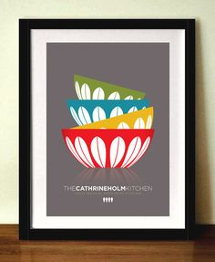 CATHRINEHOLM BOWLS Mid century poster print by visualphilosophy, $18.99