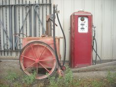 Old gasoline pump and fuel cart. DSMc.2012  every farm had one..... one at my great grandfathers store