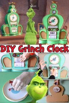 Learn how to make this DIY alarm clock and calendar featured in the 2018 The Grinch movie! This would make a great craft decoration for christmas or all year round! Whoville Christmas Decorations, Grinch Christmas Party, Grinch Ornaments, Grinch Who Stole Christmas, Grinch Party, Christmas Decorations For The Home, Holiday Crafts For Kids, Whimsical Christmas, Christmas Themes