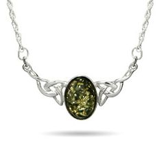 Genuine Green Baltic Amber Celtic Knot Necklace $78