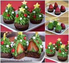 Strawberry Christmas Tree Bownie Bites
