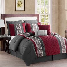 Dress your bed in elegance with the exquisite VCNY Farion Comforter Set. Red Bedding, Queen Comforter Sets, King Comforter, Red And Black Bedding, Bedroom Red, Bedroom Decor, Bedroom Ideas, Master Bedroom, Colorful Bedding