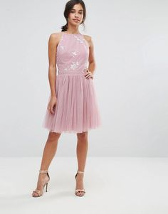 db090069b1 Little Mistress Petite Embellished Top Mini Tulle Prom Dress With Bow Back  Detail