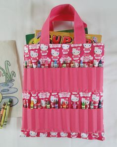 pink hello kitty coloring book and crayon holder by shoppebylola 2000 - Coloring Book And Crayon Holder