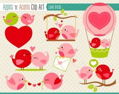 Love Birds Clip Art - color and outlines $