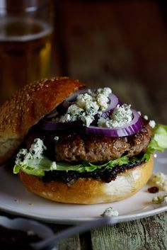 Beef burgers with Bacon Jam & Gorgonzola #burger #recipe #bacon