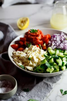 Easy chopped salad with lemon dressing | simply-delicious-food.com #recipe #food #vegetarian