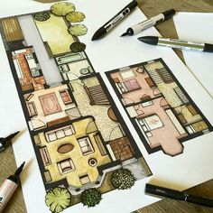 'Before' interior illustration of a Victorian terrace house. Floor plan showing original room layout. Interior design drawing using Promarkers design drawing design sketches floor plans Drawing Interior, Interior Design Sketches, Interior Rendering, Floor Plan Rendering, Floor Plan Sketch, Interior Architecture Drawing, Plans Architecture, Architecture Concept Drawings, The Plan
