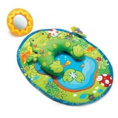 The Tiny Love Tummy Time Fun Frog Mat  is an adorable play mat that keeps your baby engaged for extensive tummy-time play.