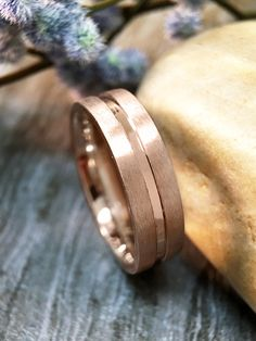 6MM Satin Finish with Polished Center Wedding by stonesandgold