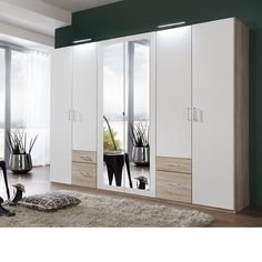 Front alpine white, carcase and application light oak finish bedroom wardrobe in a luxury finish with a contemporary look. The combination of white and mirror a look of elegance and sophistication. Wardrobe Door Designs, Wardrobe Design Bedroom, Wardrobe Furniture, Master Bedroom Interior, Bedroom Decor, Mirror Bedroom, Bedroom Cupboard Designs, Bedroom Cupboards, Walldrobe Design