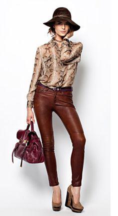 rag & bone leather jean. equipment shirt. NICE!!!