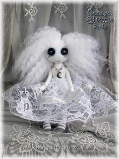 A custom button eyed ghost doll by Strange Little Girls #ghostdoll #cutecreepy #buttoneyes
