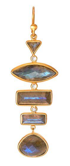 Labradorite and Diamond Earrings