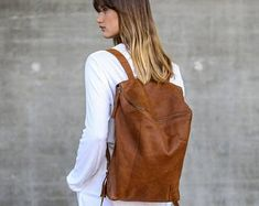 Backpack made of genuine leather handcrafted. Leather Laptop Backpack, Brown Leather Backpack, Backpack Travel Bag, Leather Bag, Leather Backpacks, Honey Brown, Stitching Leather, Etsy, Shabby Chic