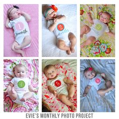 Monthly baby pictures of Evie