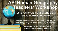 1/2 Day APHG Workshop at the 2016 National Conference on Geography Education