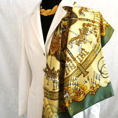 Authentic Vintage Hermes Silk Jacquard Scarf Luna Park by Joachim Metz – Carre de Paris