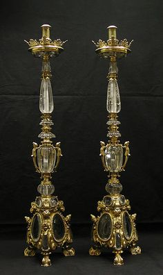 Pair of altar candlesticks - Date: ca. 1620–40 Culture: Italian Medium: Gilt bronze, rock crystal Classification: Metalwork-Gilt Bronze Credit Line: Bequest of Mary Stillman Harkness, 1950