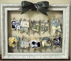 Clothes pin photo display- this is the one! I have two giant old frames waiting to be crafted