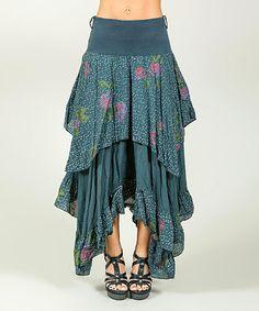 Look what I found on #zulily! Blue Floral Handkerchief Skirt #zulilyfinds
