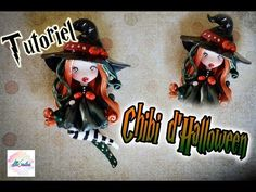 Streghetta in Fimo - Witch in Polymer Clay Polymer Clay Halloween, Fimo Clay, Polymer Clay Charms, Biscuit, Chibi, Crafts For Girls, Clay Tutorials, Miniture Things, Alice