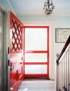 Door Color - Sherwin Williams...Cherry Tomato.  forever*cottage: A happy front door.....