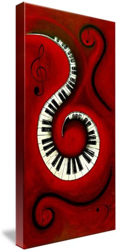 """Swirling+Piano+KeysMusic+In+Motion""+by+Wayne+Cantrell,+USA+//+This+whimsical+abstract+artwork+is+red+hot+Music+In+Motion+with+it's+Swirling+Piano+keys,+treble+/+bass+clefs+and+music+notes+sure+to+be+that+focal+point+or+add+that+touch+of+color+needed+for+any+interior+space.As+with+many+of+my+artworks+this+piece+was+created+as+a+lasting+...+//+Imagekind.com+--+Buy+stunning+fine+art+prints,+framed+prints+and+canvas+prints+directly+from+independent+working+artists+and+photographers."