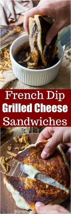 French Dip Grilled Cheese Sandwich is perfect for dinner, parties or game nights! Serve with the dipping sauce on the side for the ultimate, amazing flavor! #grilledcheese #sandwich