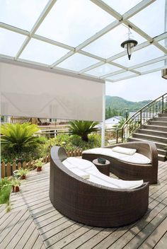 Steve's outdoor solar shades keeps the inside of your home cooler when installed in front of large windows or doors. Sun Blinds, House Blinds, Shades Blinds, Outdoor Blinds, Outdoor Shade, Pergola Shade, Patio Shade Covers, Natural Blinds, Porch Shades