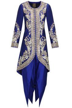 Blue dabka embroidered jacket with dhoti pants by Sonali Gupta. #sonaligupta #jacket #dhotipants