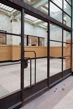 The Caledonian Mining Expedition Company: Waterschei Mine Industrial Interior Design, Industrial Interiors, Bathroom Interior Design, Steel Windows, Steel Doors, Windows And Doors, Glass Front Door, Glass Door, Architecture Details