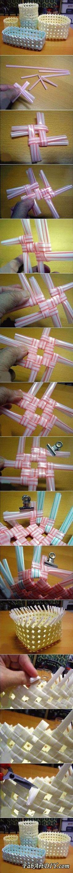 DIY Drinking Straw Basket Organizer Tutorial: Using Drinking Straw to Weave a Basket or Organizer for Home Storage and Decoration. Fun Crafts for Kids, too. Cute Crafts, Creative Crafts, Crafts To Make, Crafts For Kids, Arts And Crafts, Paper Crafts, Diy Crafts, Diy Projects To Try, Craft Projects