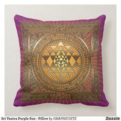 Sri Yantra Purple Sun - Pillow Sri Yantra, Home Reno, Custom Pillows, Create Your Own, Cotton Fabric, Tapestry, Throw Pillows, Sun, Blanket