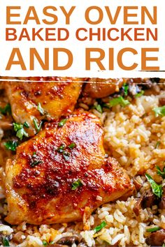 Easy Oven Baked Chicken and Rice with garlic butter mushrooms mixed through is winner of a chicken dinner! Mouthwatering baked chicken thighs coated in a beautiful rub, baked on top of fluffy soft rice… all made in the oven! Dinner doesn't get any better than this one dish wonder! An oven baked chicken and rice recipe filled with onions, garlic PLUS I'm giving you the option to add in plump garlic butter mushrooms! Mmmm, Mushroom Rice! #chicken #chickenrecipes #rice #healthydinner Oven Chicken And Rice, Chicken Thigh And Rice Recipe, Oven Baked Chicken Thighs, Chicken Thigh Recipes Oven, Chicken Rice Recipes, Easy Rice Recipes, Meals With Chicken Thighs, Baked Chicken And Yellow Rice Recipe, Recipes With Chicken Breast And Rice