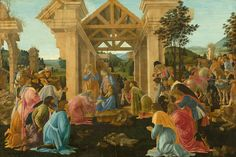 Sandro Botticelli The adoration of the Magi -  a beautiful piece of art, displaying the key ideas of renaissance art. Wonderful perspective displayed & of-course stunning costume worn by all characters.