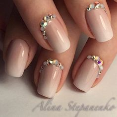 Beautiful nails 2016, Delicate spring nails, Evening nails, Exquisite nails, Feminine nails, Nail designs for short nails, Nails with rhinestones ideas, Nails with stones